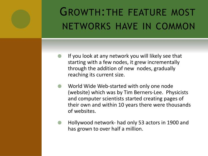 Growth the feature most networks have in common