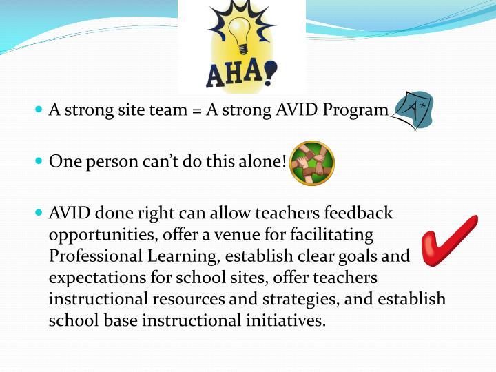 A strong site team = A strong AVID Program