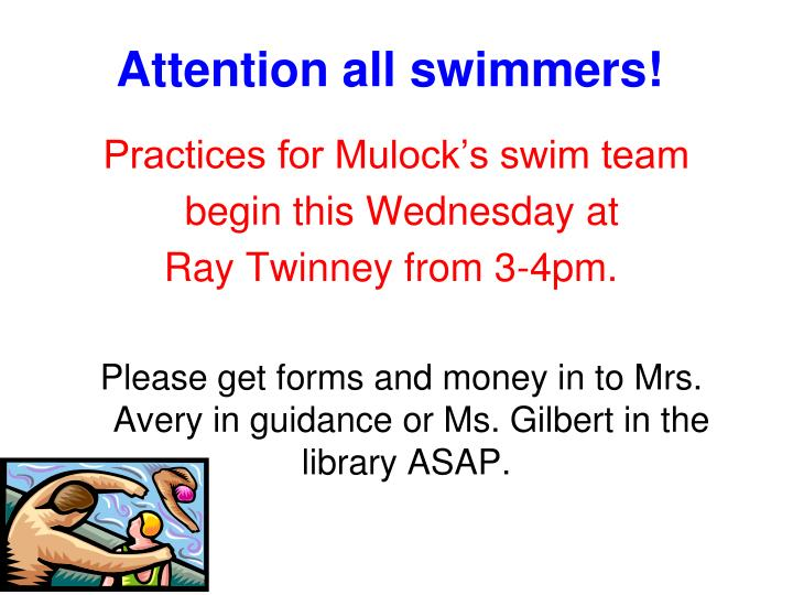 Attention all swimmers!