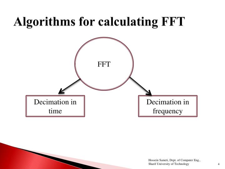 Algorithms for calculating FFT