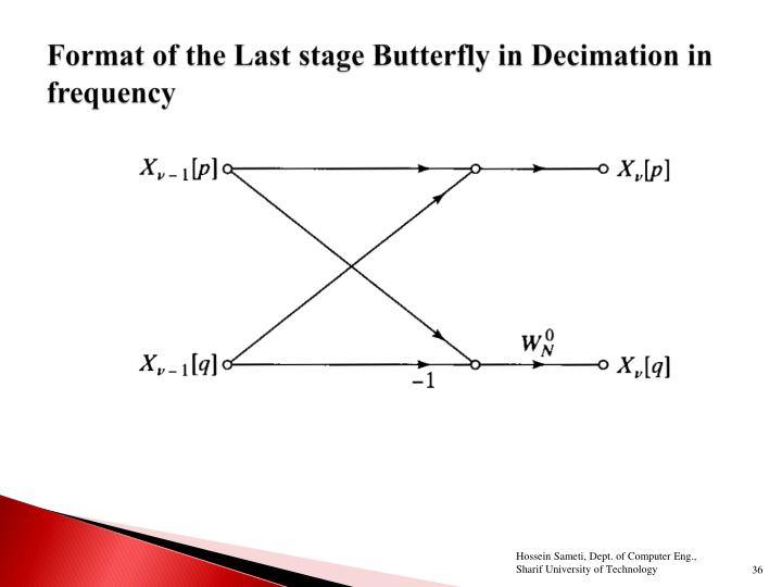 Format of the Last stage Butterfly in Decimation in frequency