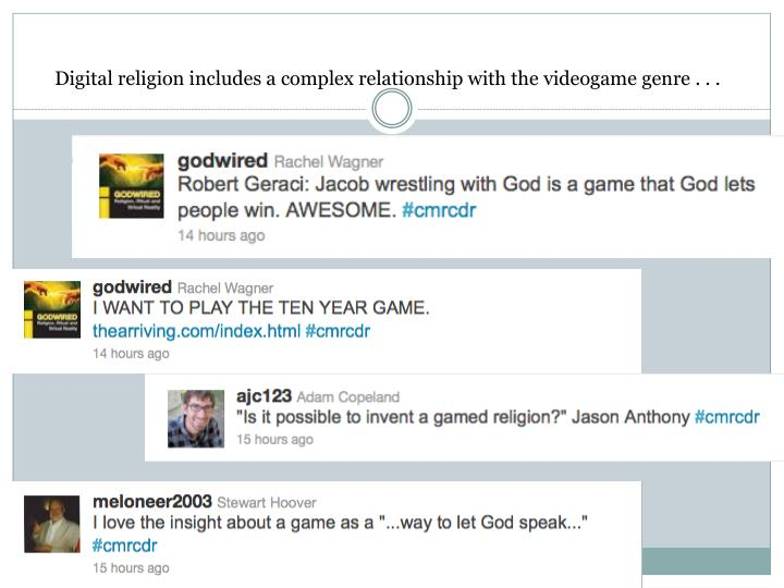 Digital religion includes a complex relationship with the videogame genre . . .