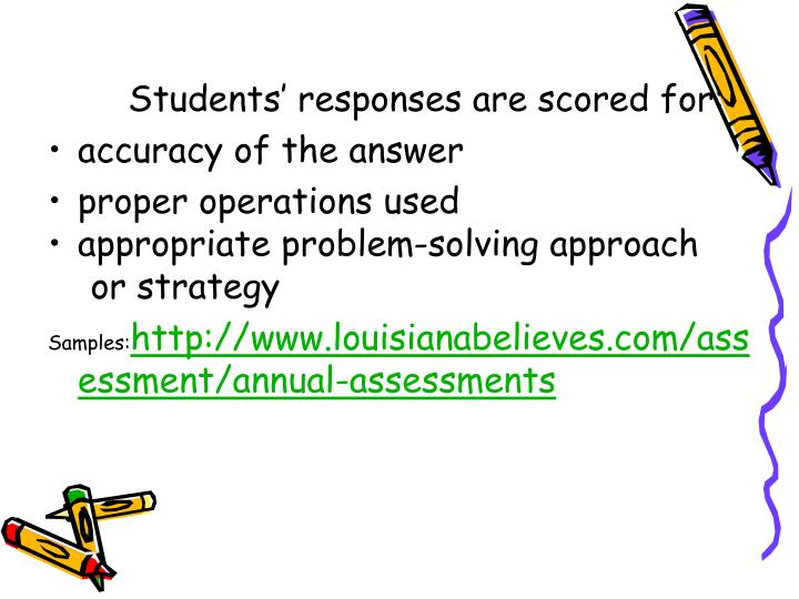Students' responses are scored for: