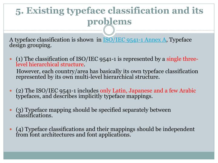 5. Existing typeface classification and its problems