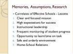 memories assumptions research