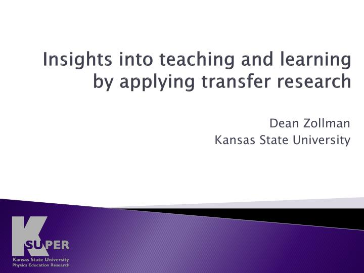 insights into teaching and learning by applying transfer research n.