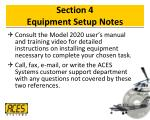 section 4 equipment setup notes
