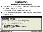operators applications of the modulus operator