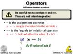 operators difference between and