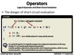 operators logical operators and short circuit evaluation1