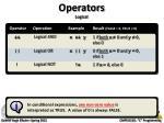 operators logical