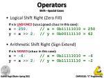 operators shift special cases