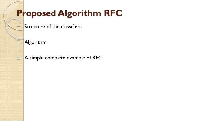 Proposed Algorithm RFC