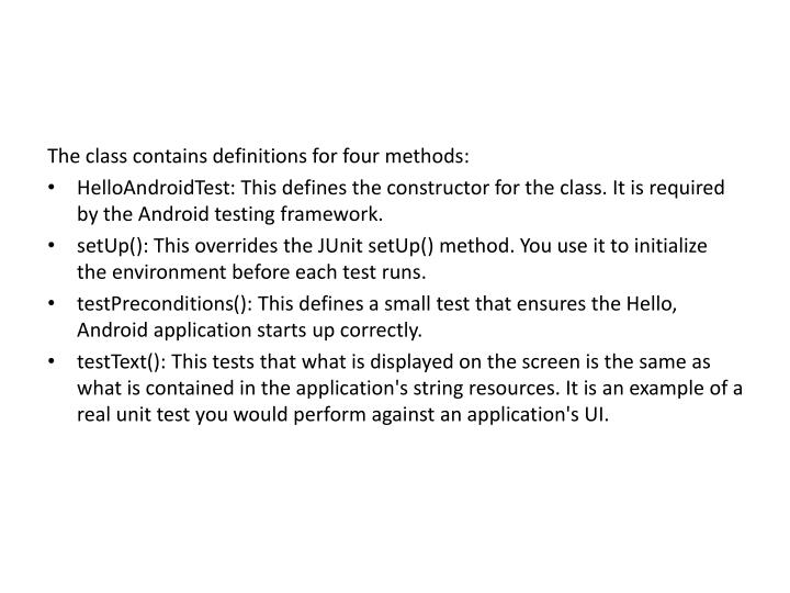 The class contains definitions for four methods: