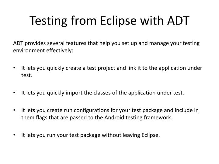 Testing from Eclipse with ADT