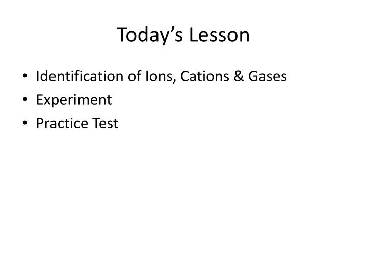 cations and anion lab essay The anion gap is a mathematical test performed on laboratory electrolyte values to determine the cause of a metabolic acidosis it is defined as the sum of serum anion concentrations subtracted from the serum cation concentrations specifically, by convention the cations are sodium and potassium, and the anions are bicarbonate and chloride.