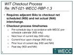 wit checkout process re int 021 wecc rbp 1 3