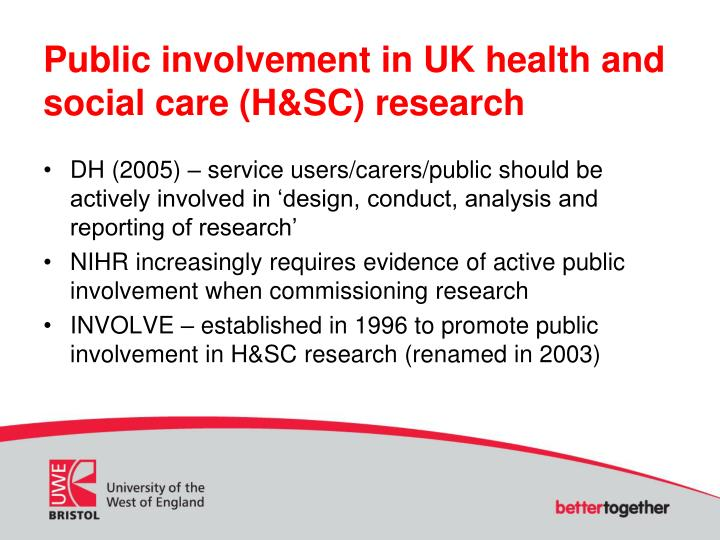 Public involvement in uk health and social care h sc research