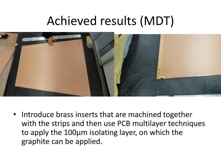 Achieved results (MDT)