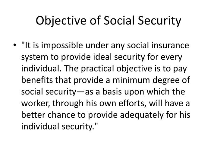 Objective of Social Security