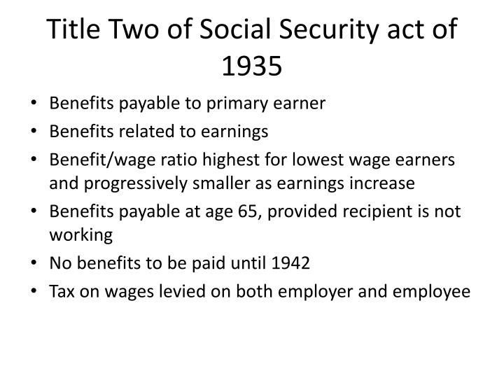 Title Two of Social Security act of 1935