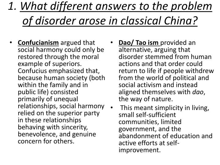 1 what different answers to the problem of disorder arose in classical china