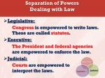 separation of powers dealing with law