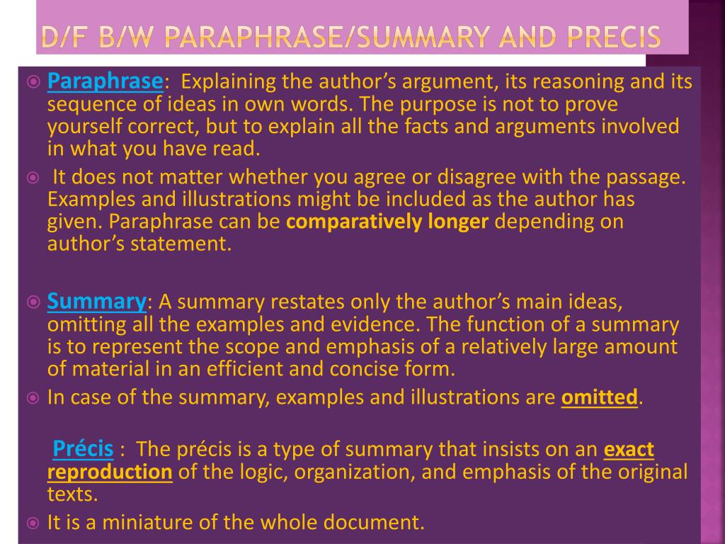 Ppt Lecture 6 Preci Writing Powerpoint Presentation Free Download Id 2602614 Difference Between Paraphrase And Summary