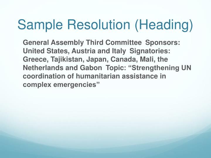 Sample Resolution (Heading)