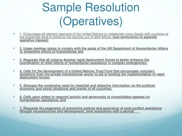 Sample Resolution (Operatives)