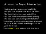 a lesson on prayer introduction