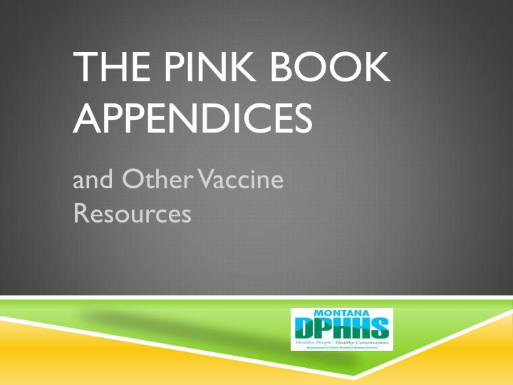 the pink book appendices n.