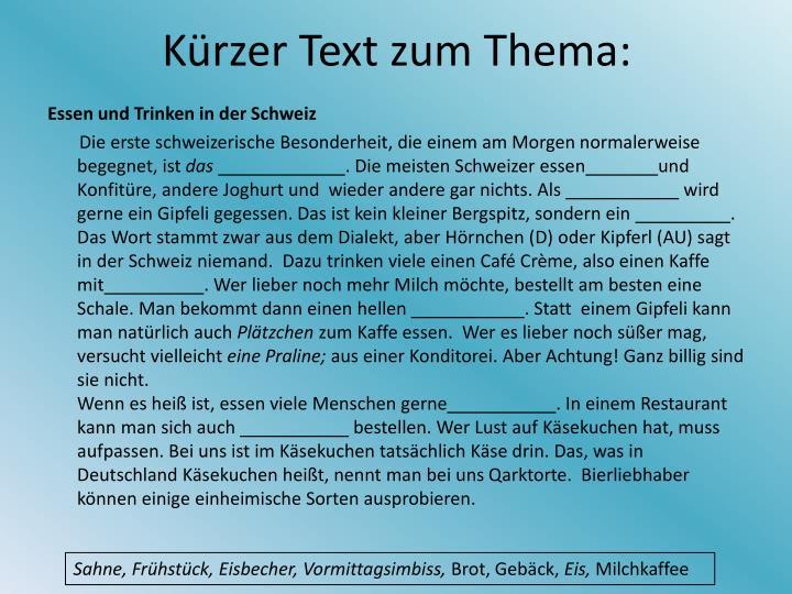 K rzer text zum thema