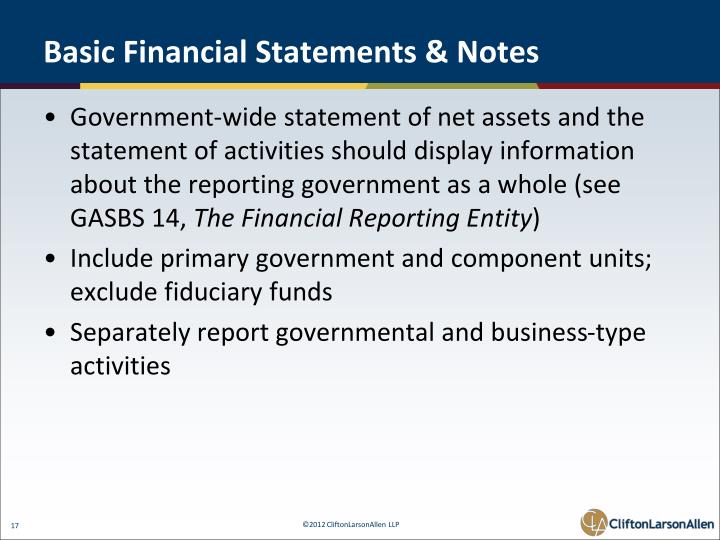 Basic Financial Statements & Notes