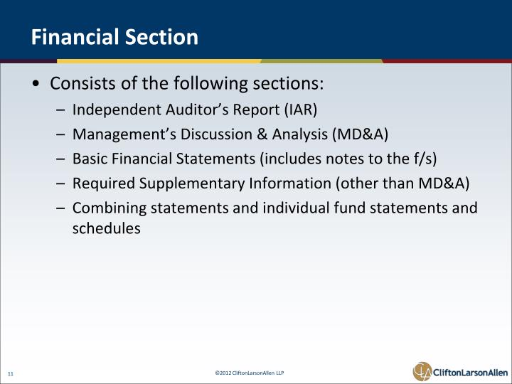 Financial Section