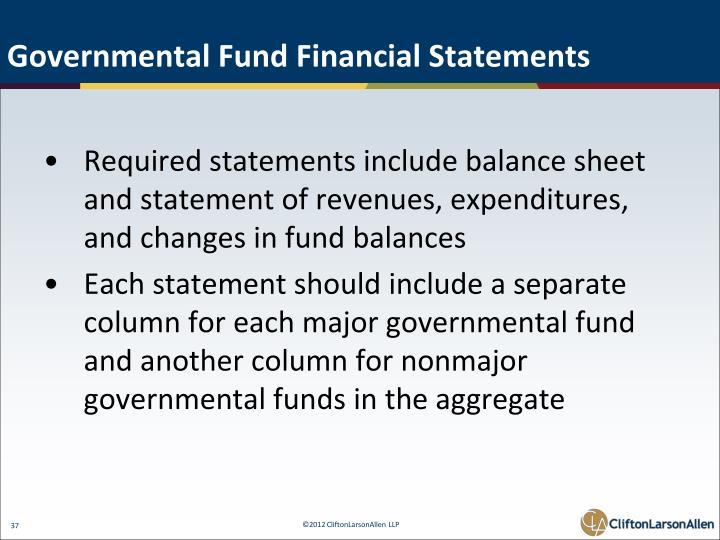 Governmental Fund Financial Statements