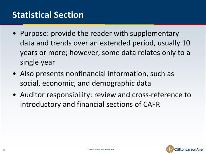 Statistical Section