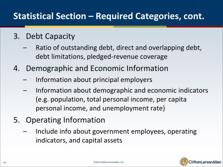 Statistical Section – Required Categories, cont.