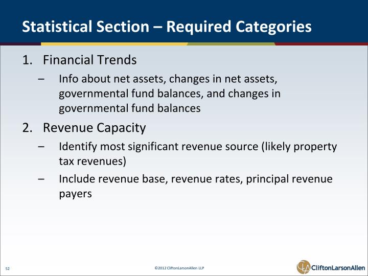 Statistical Section – Required Categories