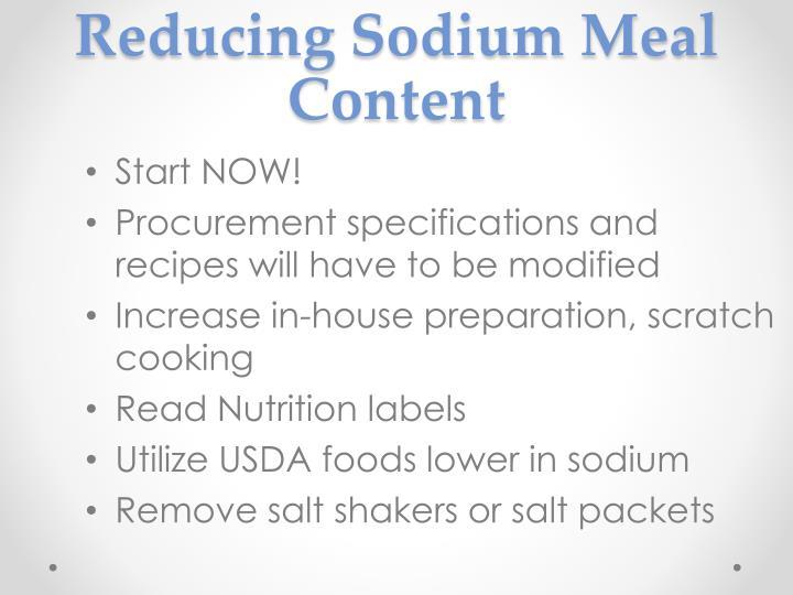 Reducing Sodium Meal Content