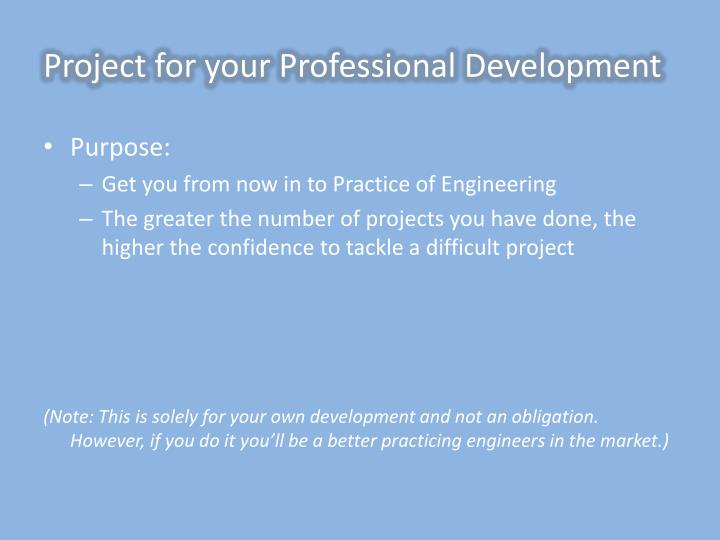 Project for your Professional Development