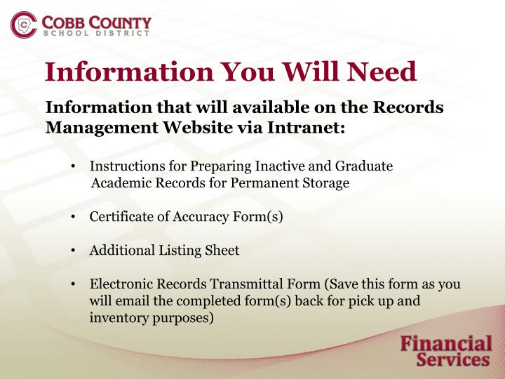 Information You Will Need