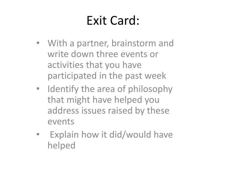 Exit Card: