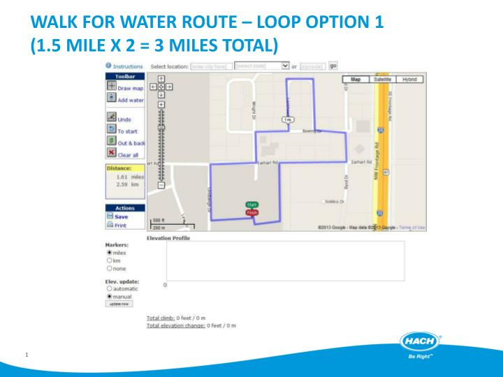 Walk for water route loop option 1 1 5 mile x 2 3 miles total