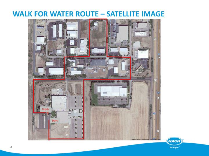 Walk for water route satellite image