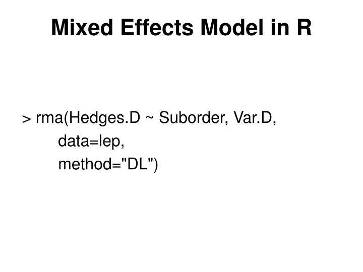 Mixed Effects Model in R