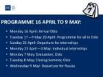 programme 16 april to 9 may