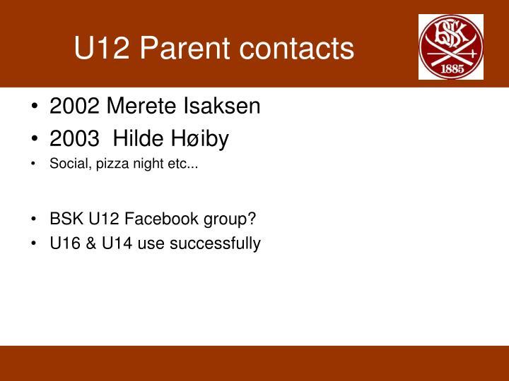 U12 Parent contacts