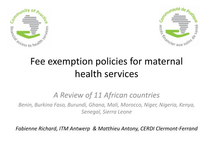 Fee exemption policies for maternal health services