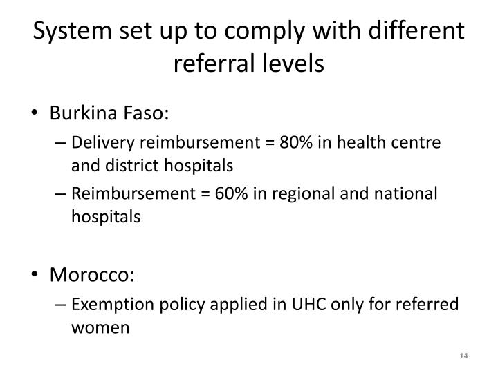 System set up to comply with different referral levels